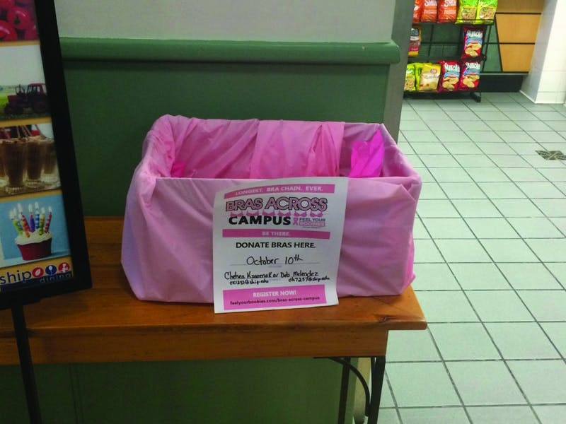 A bra collection box is set up at SU's Century Cafe in Old Main.