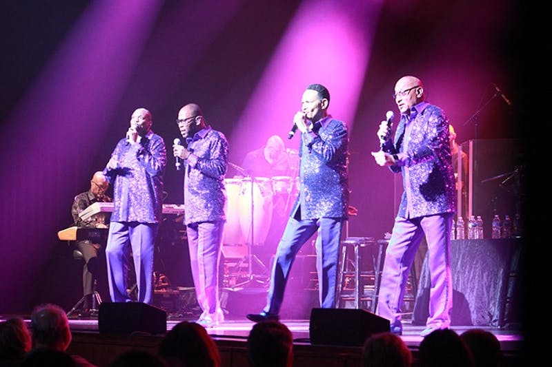 "The Four Tops, composed of (left to right) Alexander Morris, Roquel Payton, Ronnie McNeir and Abdul ""Duke"" Fakir, warms up the Luhrs audience."