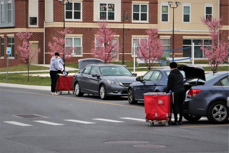 Several Shippensburg University students move out of their residence halls on Monday.