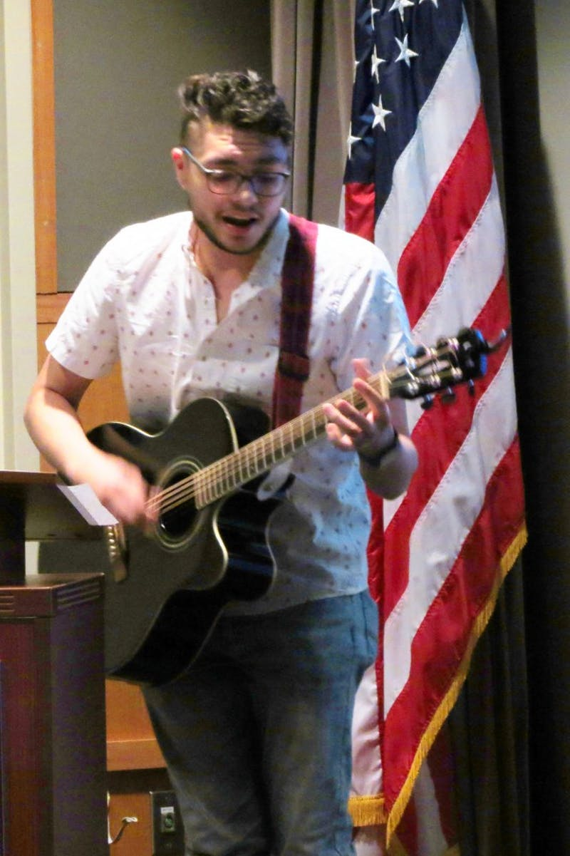 "SU sophomore Noah Steinfeldt performs ""Halo"" by Beyonce. As a Black History month fact, Steinfeldt shared that Frederick Douglass, an important slave-turned-abolitionist, could read and write."