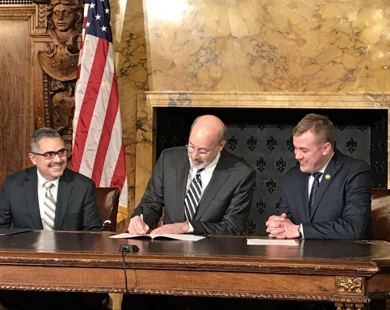 Gov. Tom Wolf signed the Timothy J. Piazza Anti-hazing Law on Friday. The bill came as a result of the death of the Pennsylvania State University sophomore.
