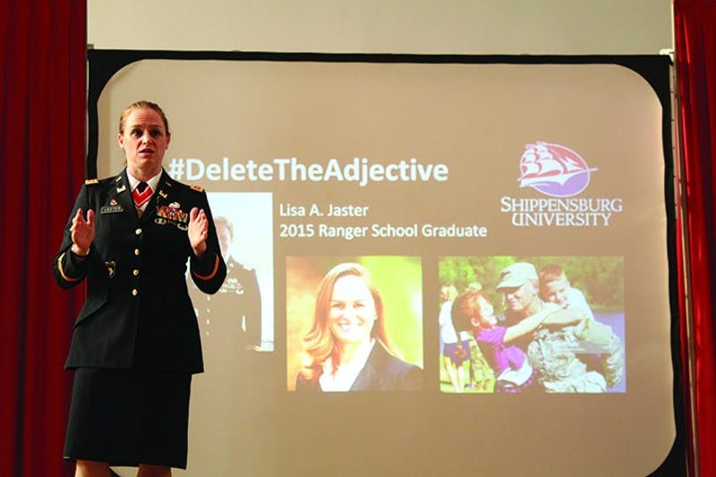 Army Maj. Lisa Jaster shared her experiences of being a woman in a male-dominated field. Jaster finished Army ranger training in 2015.