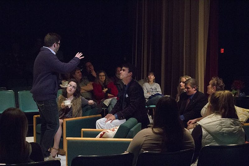 SU theater students exhibit a strong sense of character as the audience watches them perform at a close distance.
