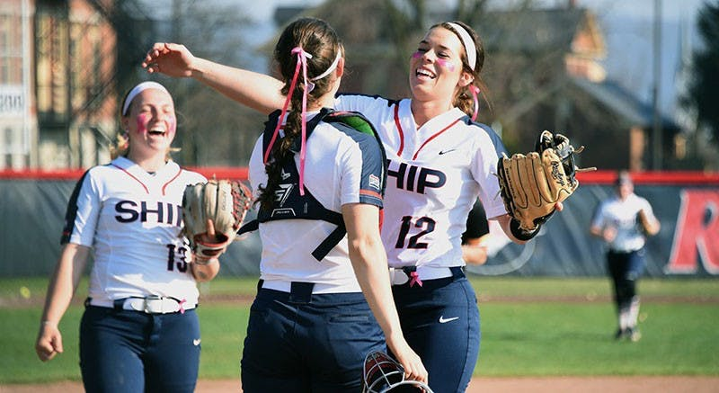 Pitcher Taryn Wilson celebrates with catcher Morgan Fetter, after notching the save in a 4-1 victory over Millersville University to round out a doubleheader sweep. Wilson struck out two of the three hitters she faced in the final inning, marking just the second save of her career.