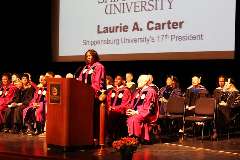 Shippensburg University President Laurie Carter addresses new students Friday morning during the annual welcome week convocation ceremony.