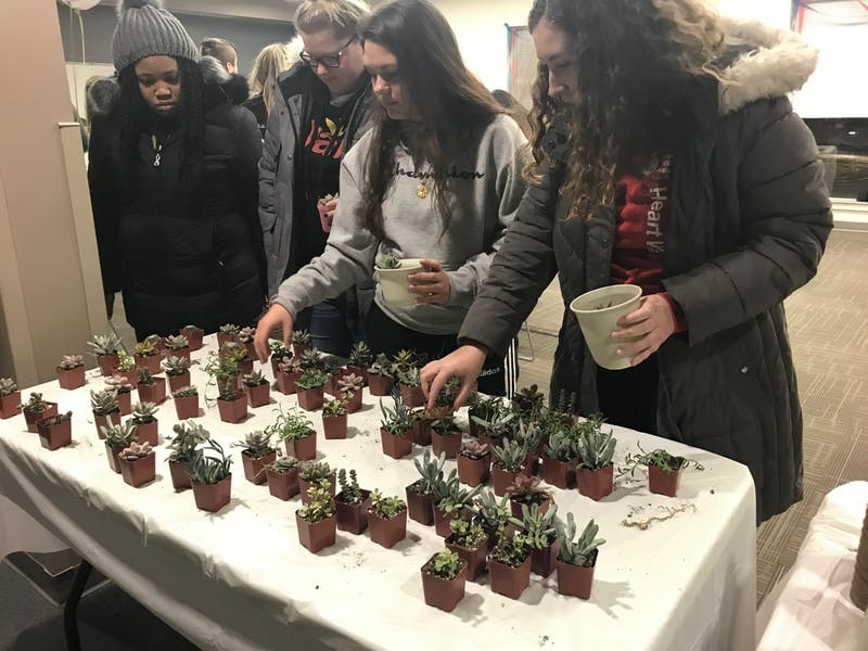 SU students gather to pick succulent flowers to plant and decorate at APB's first-ever wellness event.