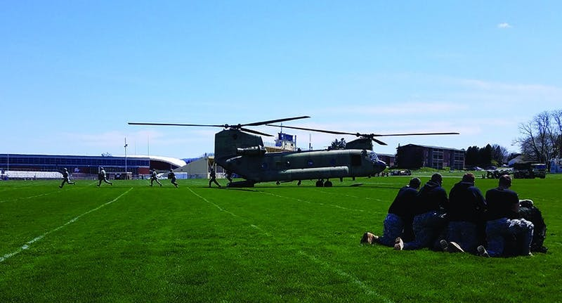 The Cadet for a Day program included the landing of a Boeing CH-47 Chinook on the football field Thursday afternoon. The program allowed 40 high school students to follow ROTC students and experience SU's campus for a day.