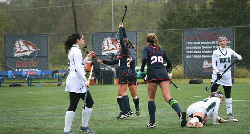 Sophomore midfielder Emily Stauffer (No. 20) celebrates one of her two goals in the 3–0 win over Slippery Rock University from David See Field on Saturday.