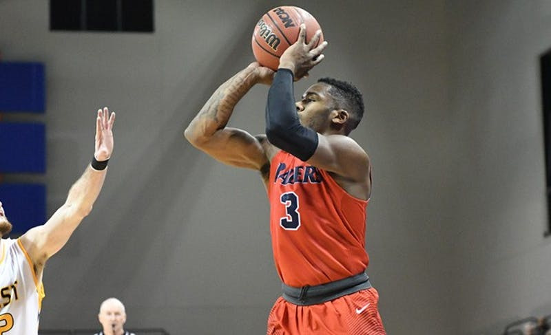 SU senior Justin McCarthur put forth an excellent display of shooting from beyond the arc in Saturday's win over West Liberty University, knocking down seven of his 10 shots from 3-point range in a 98-66 win. The win was SU's second NCAA Tournament win in school history.