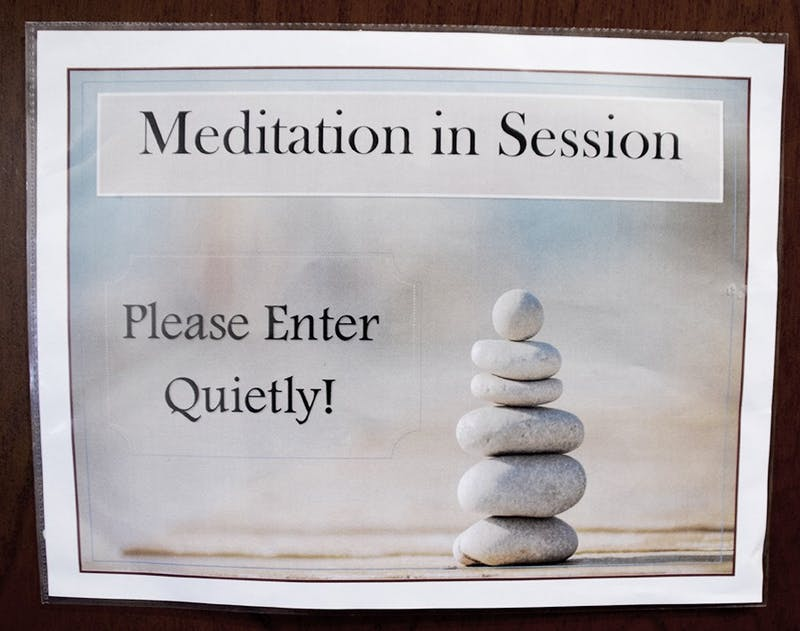 Mindfullness meditation session take place every Tuesday afternoon.