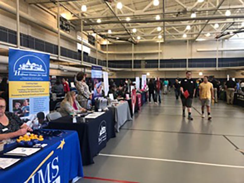 The fall Career Fair and Business Expo, held at the Ship Rec, attracted around 400 people.
