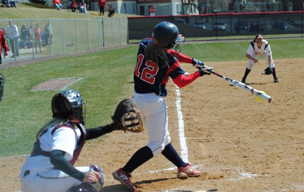Softball sweeps KU
