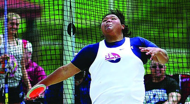 Tamara Ovejera competes at the 2017 Third Annual Ship U Invite. Ovejera holds four school-records in multiple throwing events.