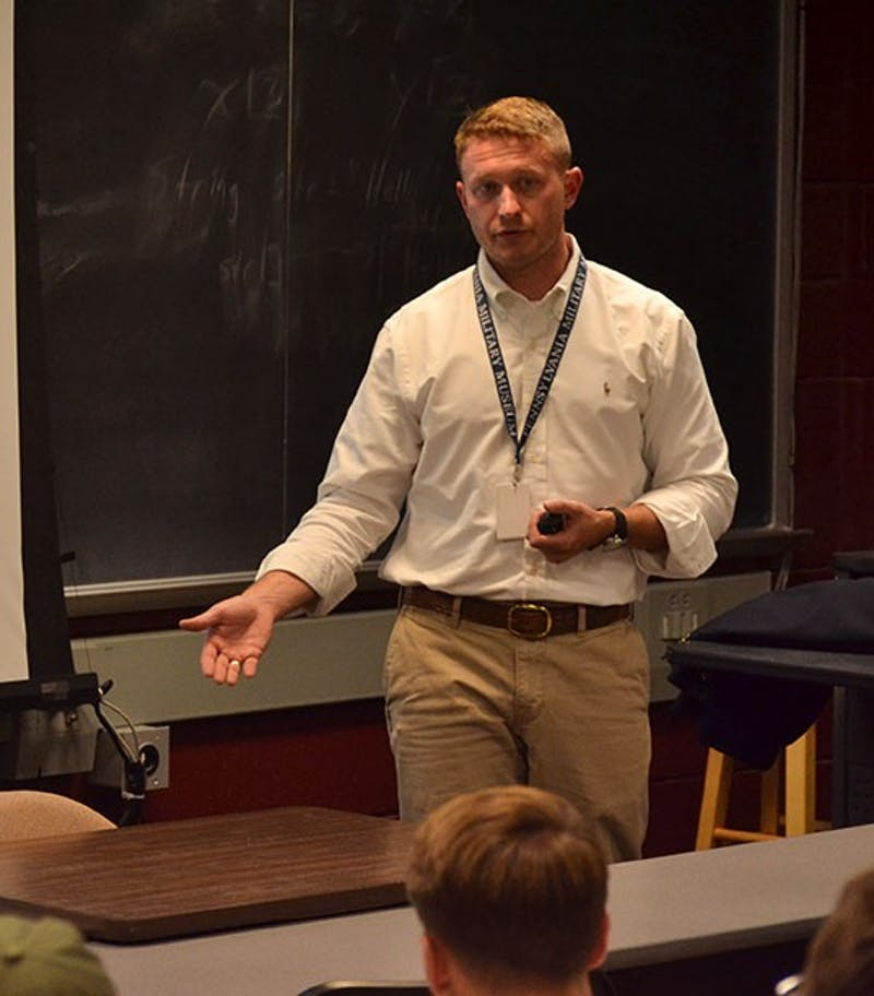 Tyler Gum shares his past experiences and career advice with students during last week's lecture.