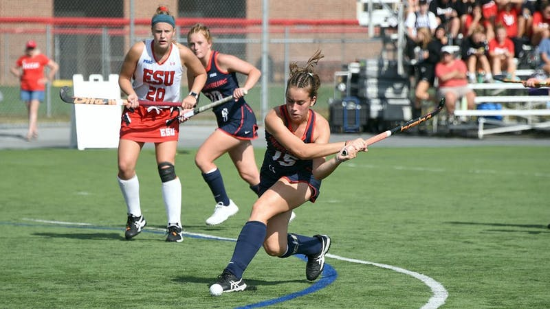 Valen Alonso approaches the goal and takes one of her four shots against East Stroudsburg. She scored the Raiders' lone goal in the fourth quarter of a 2-1 loss to the No. 4 nationally-ranked Warriors.