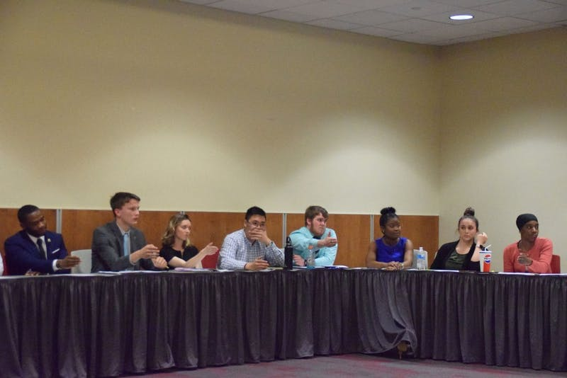 SGA senators vote on a motion to approve the 2019-20 SUSSI SGA operating budget during the meeting on Thursday afternoon. The motion passed 16-7 with two abstentions, but a 45-minute long conversation occurred before the vote. A motion to table the vote indefinitely also was brought up, but failed by a vote of 18-8.