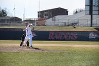Kiernan Higgins pitches in a game earlier this season. Higgins tossed a near complete-game shutout Thursday against West Chester, scattering two hits and tying his career-high 12 strikeouts.