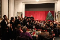 The SU Madrigal Singers give their audience a musical performance with their dinner. Each year the singers perform their Christmas concert in Old Main Chapel.