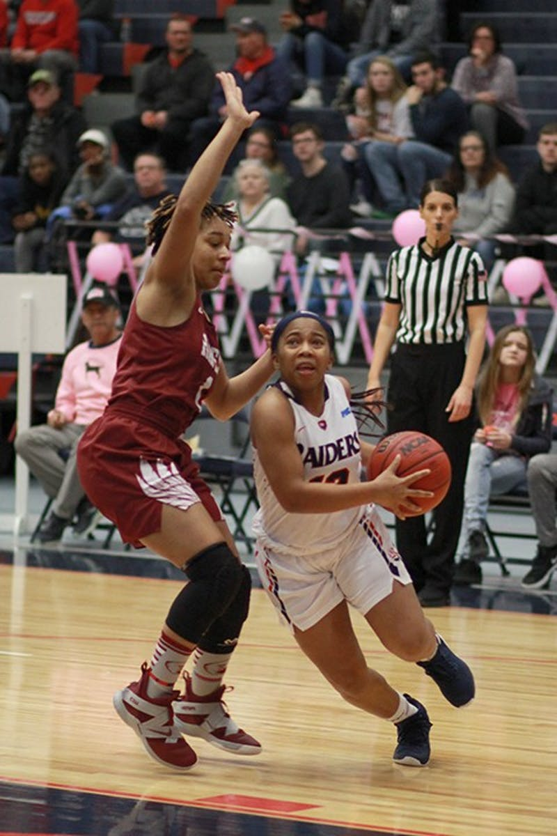 Dah'Naija Barnes drives past a defender in Wednesday's PSAC contest.