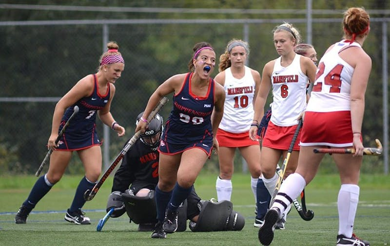 Jazmin Petrantonio (No. 28) is tied for first in goals in the PSAC with 13 so far.