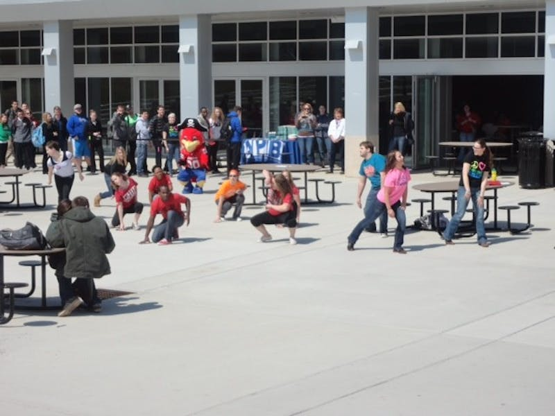 Students had one night to practice for the flash mob that took place at the CUB amphitheater Friday, April 5.