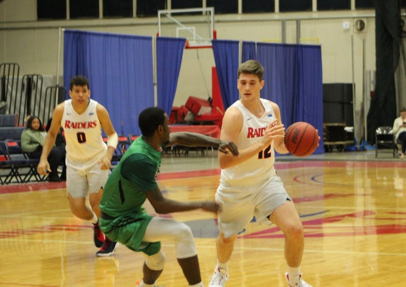 Dustin Sleva picked up his fifth-straight double-double in Monday's win over Wilmington.