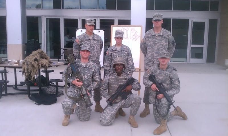 Students had the opportunity to try on battlefield gear. ROTC sponsored the program that took place in the CUB amphitheater.