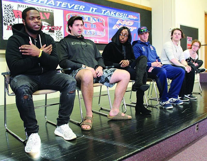 Students hold an open conversation and share their thoughts at the Ask, Communicate, Teach Tolerance (A.C.T) call to action that was held on Thursday afternoon. The event was held to address social issues on campus, including a Facebook post made by a student that threatened others.