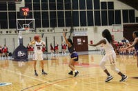 Ariel Jones reads the floor while playing point guard for the Raiders against Lock Haven. She is averaging 2.2 assists per game this season while playing alongside fellow point guard Destiny Jefferson.