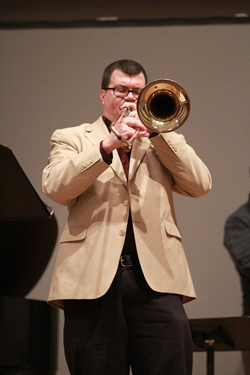 "Jay Vonada (above) plays the trombone. According to the concert's program, Vonada is ""the hardest-working trombonist in central Pennsylvania."""