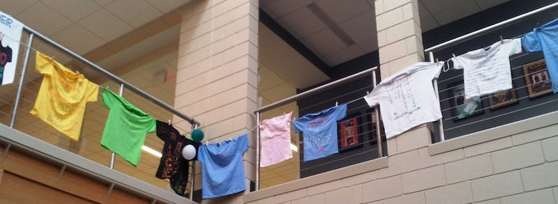 The Clothesline Project shirts are on display at SU and Wilson College throughout April.