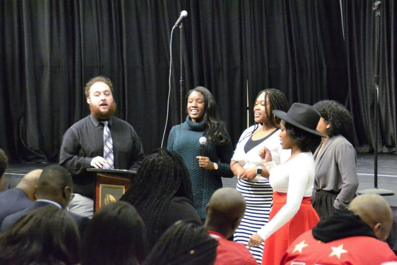 Students gather to honor the Rev. Martin Luther King Jr. through gospel and worship in the multipurpose room of the Ceddia Union Building.