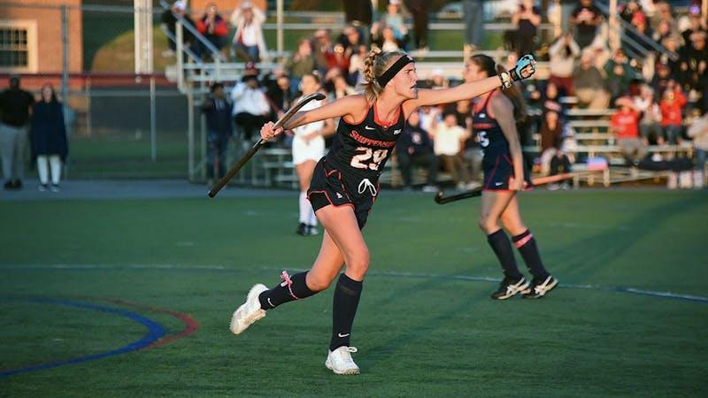 Senior Forward Jenna Sluymer celebrates after netting a goal against Kutztown University.