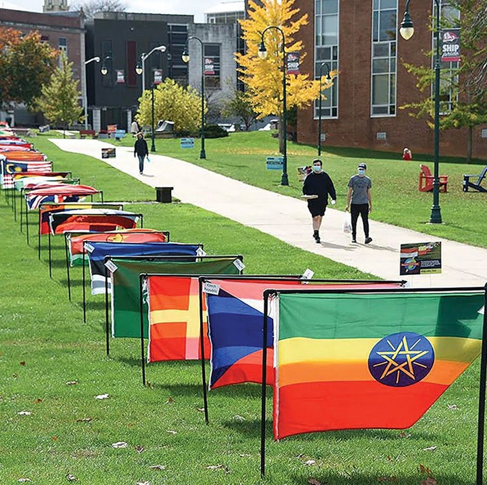 International flags displayed in 'heart of campus'