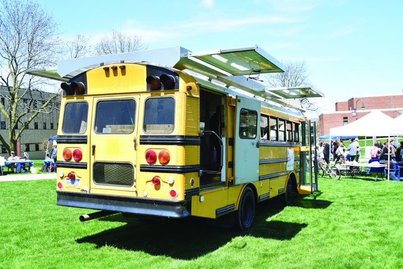 Dustin McCorkle and his partner have worked on the sustainable bus for the last year and a half. The two plan to live in the bus once it is finished.