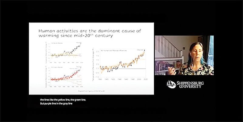 Emily Cloyd shows a chart tracking how global temperatures have risen as a direct result of human activity.