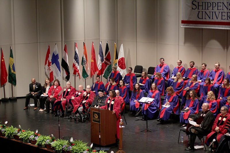Shippensburg University president Laurie Carter makes her inaugural address on Friday afternoon at the H. Ric Luhrs Performing Arts Center. The inauguration began with greetings and continued with guest speakers SU President Emeritus Anthony Ceddia and Eastern Kentucky University Board of Regents Chair Craig Turner. Carter's address reiterated the importance of students' success at the university, and her goal to make changes with urgency that impact students now.