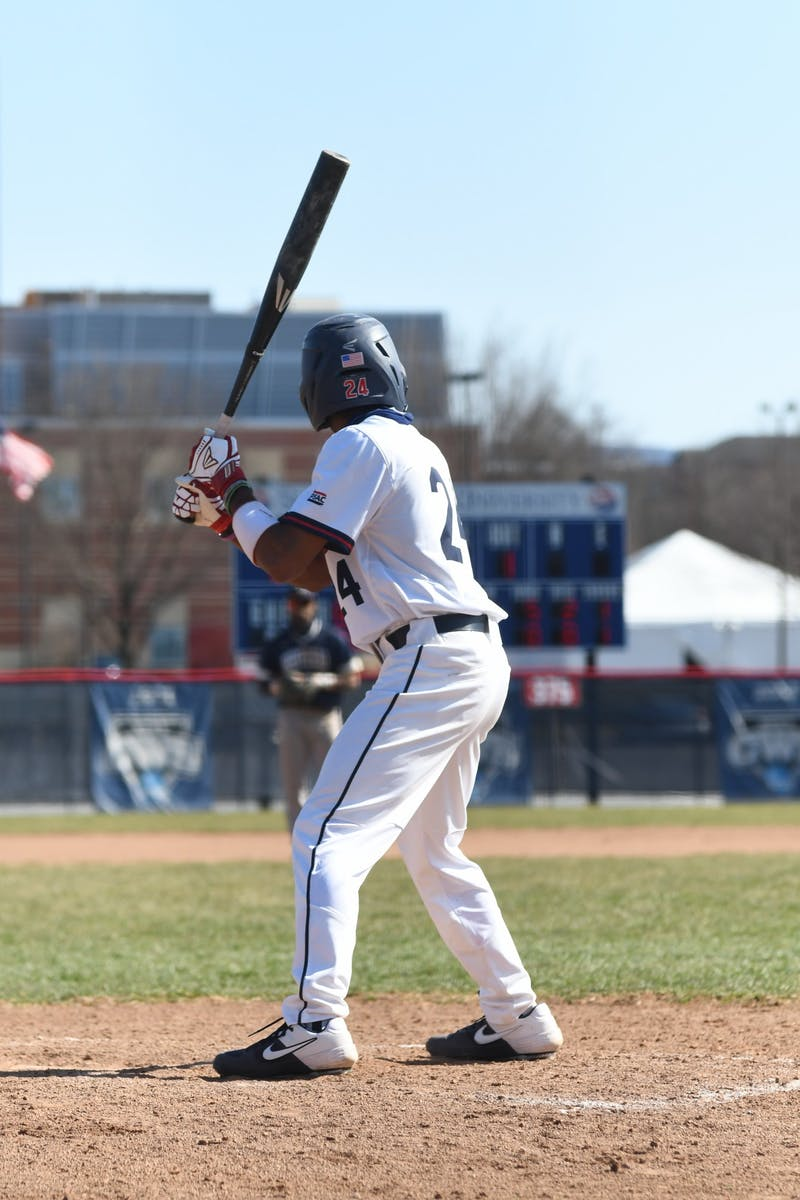 JuJu Cason steps to the plate in a game earlier this season against Shepherd University. He leads the Raiders in stolen bases this season with 15.