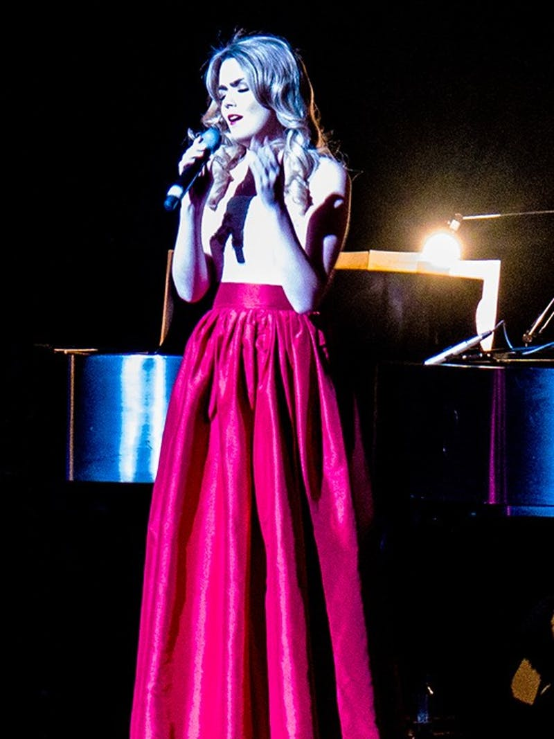 The newest member of Celtic Woman, vocalist Megan Walsh, steps onstage to highlight her vocals with a solo song. The three other members of Celtic Woman had their share of solo performances throughout the night too.