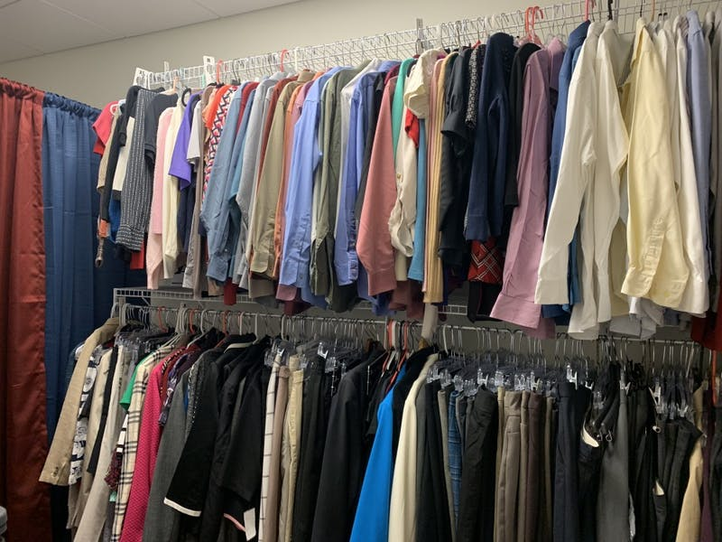 SU students have the opportunity to choose from a variety of clothing options. The donations help students give a good first impression when going to job interviews.