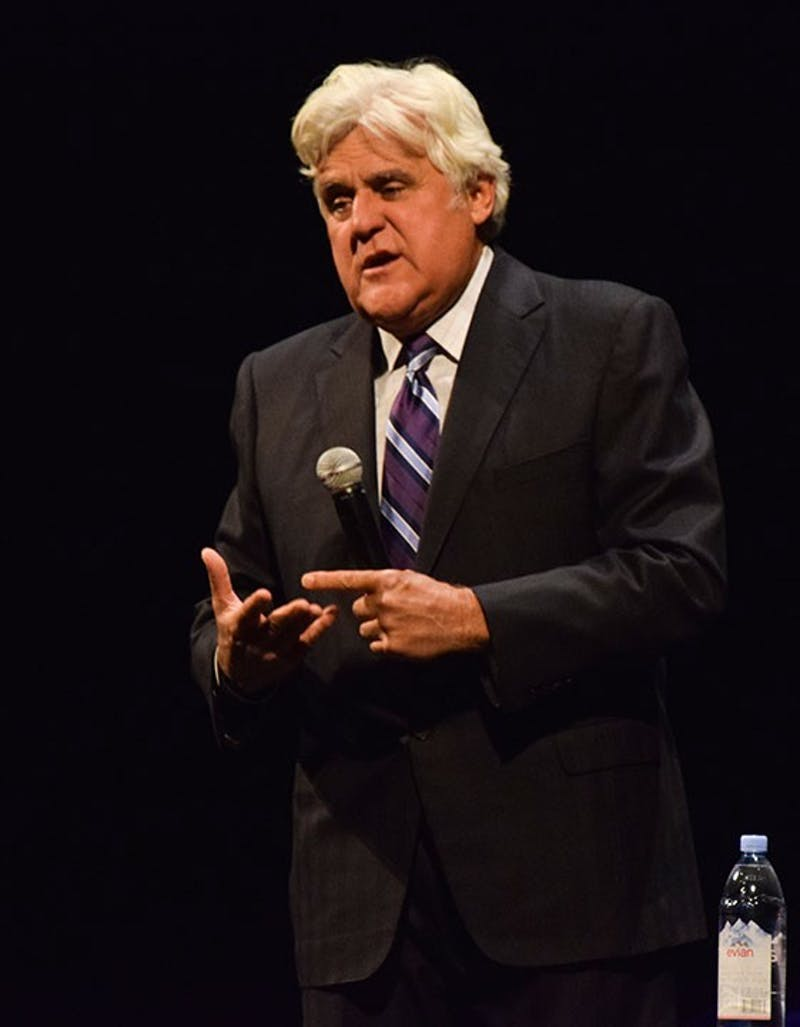 Jay Leno puts his political views out in the open by using President Donald Trump and Hillary Clinton as talking topics for his stand-up jokes during the Luhrs show.