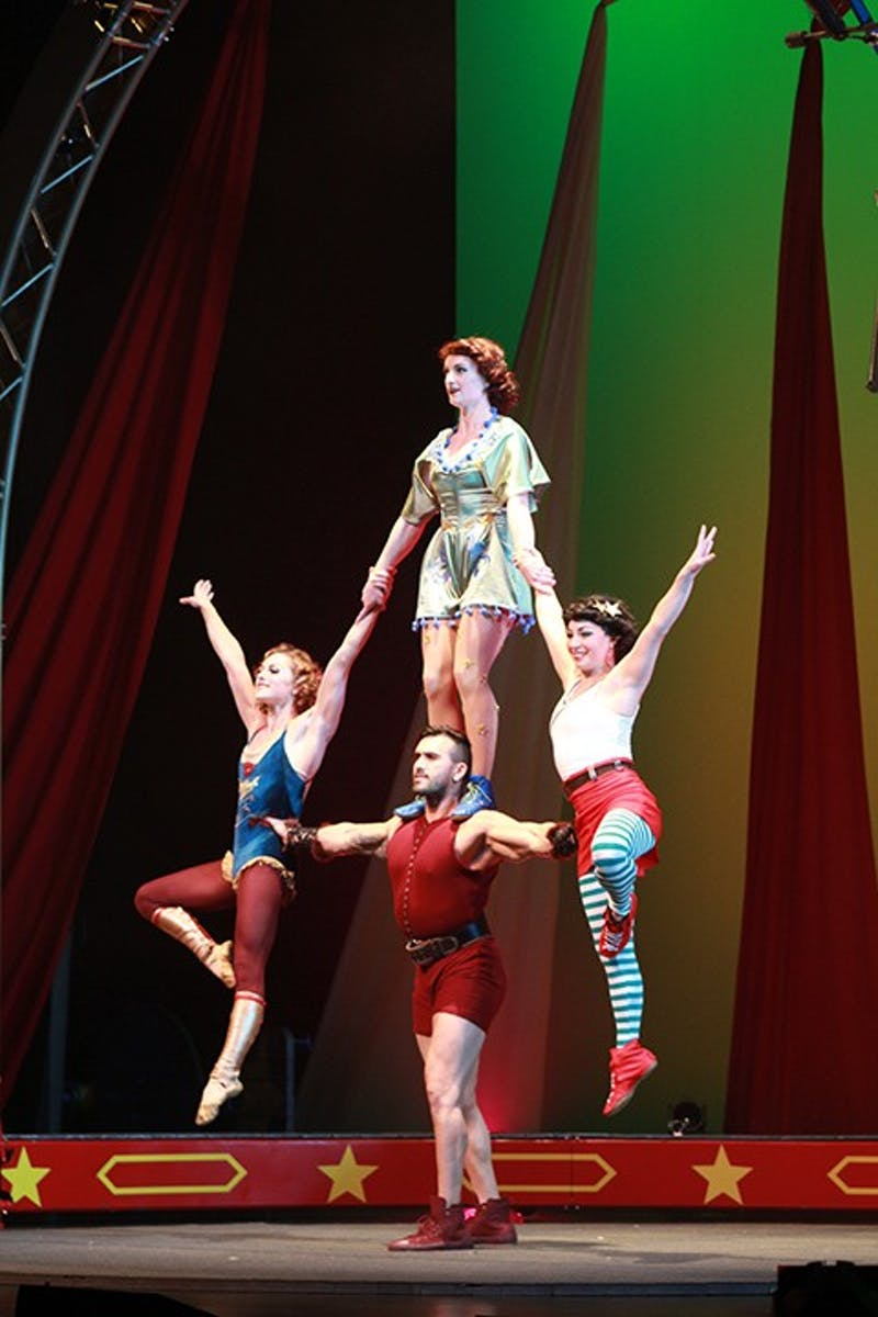 "According to the Cirque Mechanics website,  the show has ""stories are wrapped in circus acrobatics, mechanical wonders and a bit of clowning around."" In the photo above the performers do a gravity-defying stunt."
