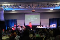 """Big Red makes an appearance during the winter wonderland bingo on Friday night as part of the """"Where's Big Red"""" weekend hosted by APB."""