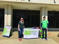 Carly Erisman and Andrew Haldenan encourage Shippensburg community members to sign up to be an organ donor while raising awareness of the cause.