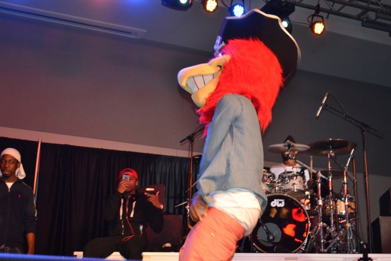 Hip-Hop group Travis Porter performed for SU students on Sunday, April 7. The group performed as part of APB's concert series. Students and SU mascot, Big Red went wild for the group's upbeat rhymes and beats.
