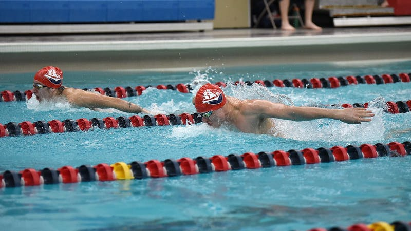 The SU men's swim team competes in one of the butterfly events held virtually Saturday -- the first meet of the season at Donald N. Miller Pool.