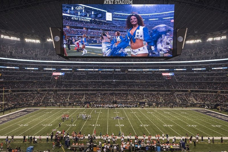 The Dallas Cowboys play host to the Denver Broncos in a game at AT&T Stadium.