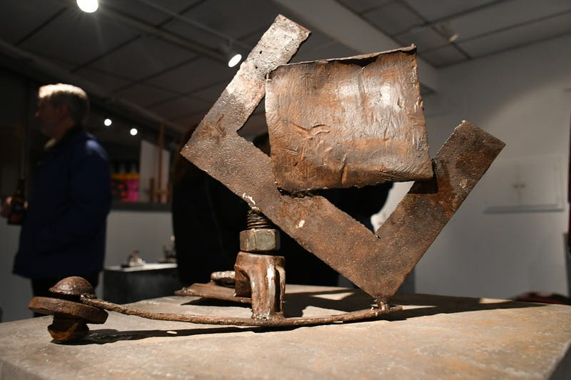 One of the 17 pieces created by SU students, Jordan Robinson's piece displays the weathered texture in the mild steel pieces found at the location of the former Domestic Engine and Pump Co. plant in Shippensburg.