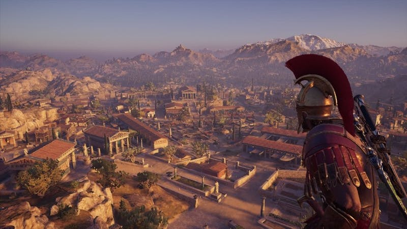 "Alexios, the male player character, overlooks part of the in-game Athens. ""Assassin's Creed: Odyssey,"" like ""Origins"" before it, has a photo mode in which players can capture the Greek world around them. Furthermore, they make basic edits such as modifying the color temperature, saturation, noise and more."