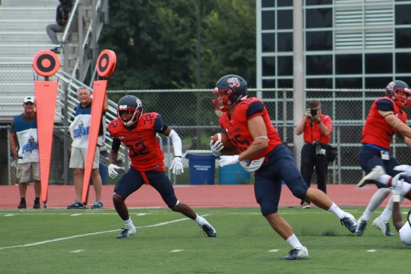 Senior quarterback Chase Yocum (No. 15) had one of SU's two rushing touchdowns against LIU Post. Yocum is used in many red zone situations as a read option quarterback. He has a handful of short touchdown runs so far this season. Yocum has as many touchdowns on the ground (3) as the combined running back core.